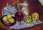 Pomegranades Paintings - Still Life with  lemons and quinces by Vladimir Kezerashvili