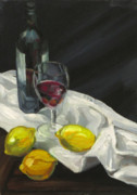 Scottish Art Originals - Still life with lemons and wine by Peter Allan