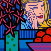 Lichtenstein Prints Posters - Still Life With lichtensteins Crying Girl Poster by John  Nolan
