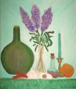Desiree Paquette Painting Framed Prints - Still Life with Lilac Framed Print by Desiree Paquette