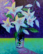 Lilies Framed Prints Posters - Still Life With Lilies Poster by John  Nolan