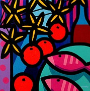 Cadmium Red Posters - Still Life With Magenta Fish Poster by John  Nolan