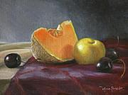 Cantaloupe Painting Prints - Still Life with Melon and Plumcot Print by Anna Bain