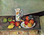 Fruit Still Life Framed Prints - Still life with milkjug and fruit Framed Print by Paul Cezanne