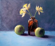 Janet King Painting Metal Prints - Still Life with Old Brown Bottle Metal Print by Janet King