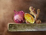 Old Wall Painting Prints - Still Life With Onion Lemon And Ginger Print by Irina Sztukowski