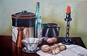Wine Bottle Paintings - Still life With Onions and Eggs by Frank Wilson