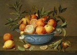 Fruit Still Life Prints - Still Life with Oranges and Lemons in a Wan-Li Porcelain Dish  Print by Jacob van Hulsdonck