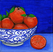 Orange Metal Prints - Still Life with Oranges Metal Print by Debbie Brown