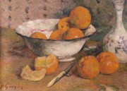 Fruit Still Life Framed Prints - Still life with Oranges Framed Print by Paul Gauguin
