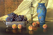 Drapes Paintings - Still Life with Peaches by Edward Chalmers Leavitt