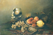 Still-life With A Basket Framed Prints - Still-life with peaches Framed Print by Tigran Ghulyan
