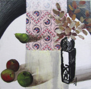 Linocut Mixed Media Posters - still life with pear apples and vase II Poster by Peter Allan