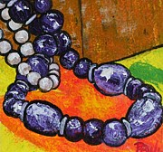 Bracelets Painting Framed Prints - Still Life with pearls-beads and box-PPSL-3080-2876 Framed Print by Pat Bullen-Whatling
