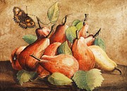 Vellum Prints - Still Life with Pears and Butterfly Print by Pg Reproductions