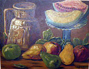 Still Life With Pitcher Art - Still Life with Pears and Melons by Hilda Schreiber