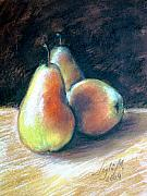 Pears Drawings Framed Prints - Still life with pears Framed Print by Leyla Munteanu