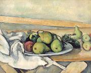 Table Cloth Painting Metal Prints - Still Life With Pears Metal Print by Paul Cezanne