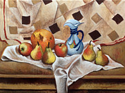 Grapefruit Paintings - Still life with pears by Vladimir Kezerashvili