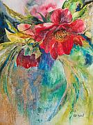 Blue Vase Metal Prints - Still Life with Peonies Metal Print by Kate Bedell