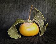 Visual Artist Metal Prints - Still Life With Persimmon Metal Print by Viktor Savchenko