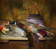 Fusion Photography Posters - Still Life With Pheasants And Corn Poster by Jeff Burgess