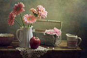 Healthy Eating Art - Still Life With Pink Gerberas And Red Apple by Copyright Anna Nemoy(Xaomena)