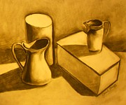 Janel Bragg Pastels - Still Life with Pitchers by Janel Bragg
