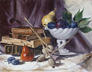 Antiques Paintings - Still life with plums by Irek Szelag