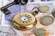 Cash Money Prints - Still Life With Pocket Watch, Key Print by Photo Researchers