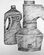 Pen  Drawings Originals - Still Life with Popcorn Maker and Laundry Soap Bottle by Michelle Calkins