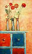 Interior Still Life Painting Metal Prints - Still life with poppies Metal Print by Iliyan Bozhanov