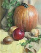 Onion Paintings - Still Life with Pumpkin by Anna Bain