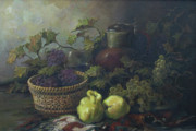 Still-life With A Basket Framed Prints - Still-life with quinces Framed Print by Tigran Ghulyan