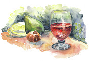 Still Life With Red Wine Glass Print by Miki De Goodaboom