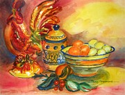 Italian Pottery Prints - Still Life with Rooster Print by Nancy Brennand