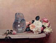 White Glass Posters - Still Life with Roses Poster by Ignace Henri Jean Fantin-Latour
