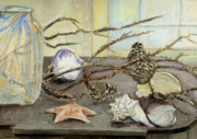 Pine Cones Posters - Still Life with Seashells and Pine Cones Poster by Ethel Vrana