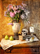 Still-life With Flowers Posters - Still Life With Skull Poster by Jill Battaglia