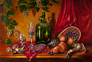 Fruit And Wine Paintings - Still life with snails by Roxana Paul