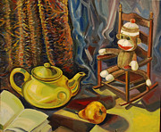 Tea Pot Drawings Prints - Still life with sock monkey Print by Talia Prilutsky