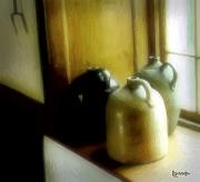 Jugs Digital Art Framed Prints - Still Life with Stoneware Framed Print by RC DeWinter