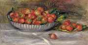 Pierre Paintings - Still Life with Strawberries by Pierre Auguste Renoir