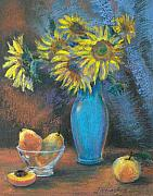 Peaches Pastels - Still life with sunflowers. by Julia Utiasheva
