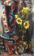 Rug Prints - Still-life with sunflowers Print by Tigran Ghulyan