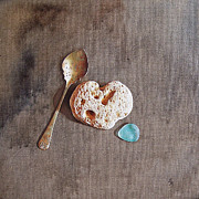 Spoon Paintings - Still life with teaspoon and heart stone by Elena Kolotusha