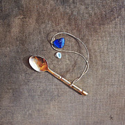 Spoon Paintings - Still life with teaspoon and sea glass by Elena Kolotusha