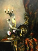 Still-life With A Wineglass Posters - Still-life with the dojra Poster by Tigran Ghulyan