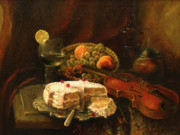 Peaches Painting Prints - Still-life with the violin Print by Tigran Ghulyan