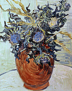 Interior Still Life Painting Metal Prints - Still Life with Thistles Metal Print by Vincent van Gogh